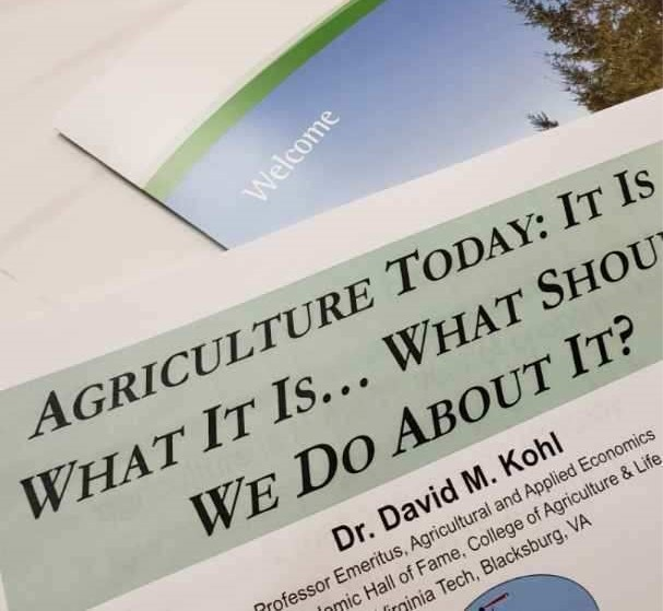 Dr. David Kohl, Professor Emeritus, Virginia Tech, discussed the economic impact on today's agriculture at seminars in Clyde and Seneca.